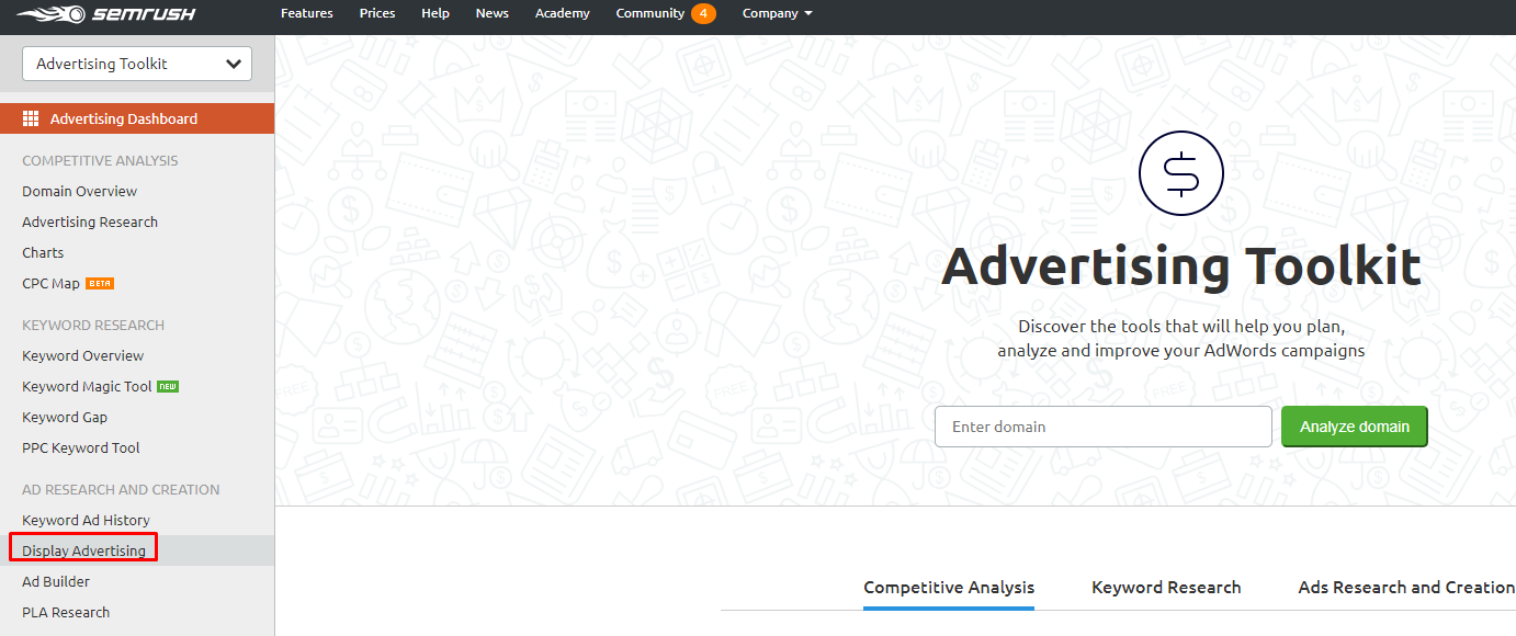 Advertising Toolkit của Semrush