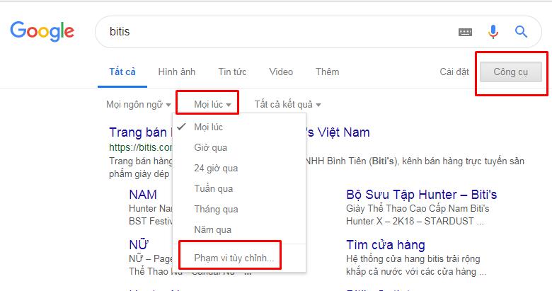 Dùng các công cụ Google Time Filter để nghiên cứu chiến dịch truyền thông