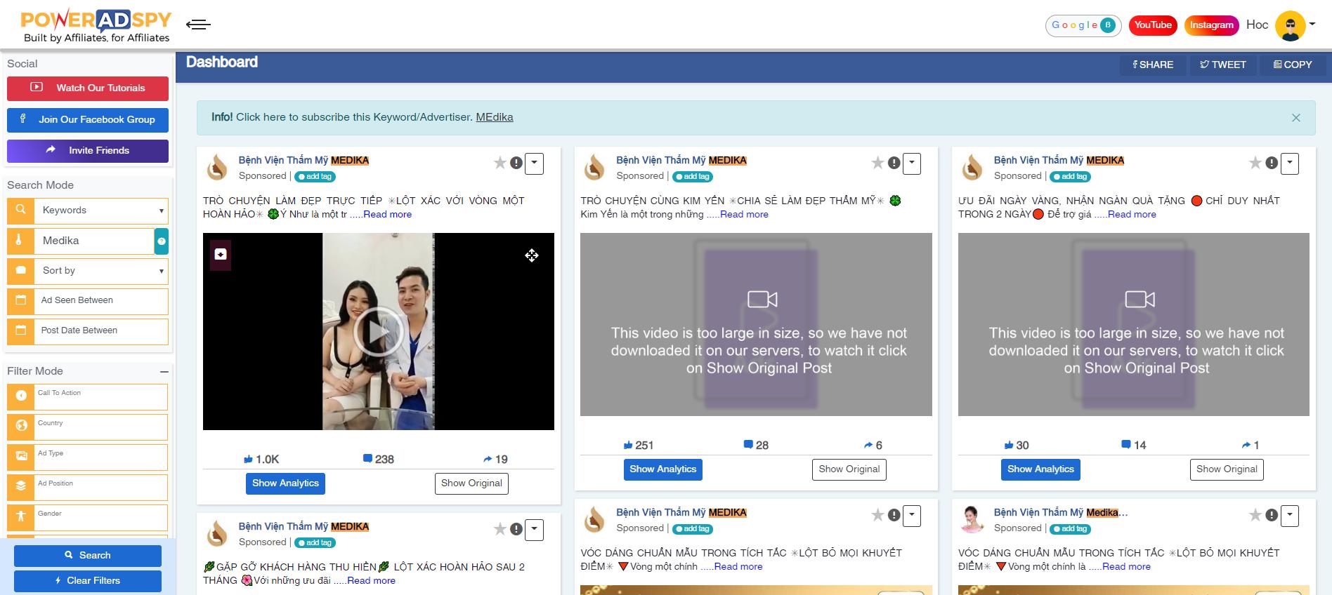 Dùng Bigspy + Poweradspy nghiên cứu Fb Ads + Landingpage đối thủ